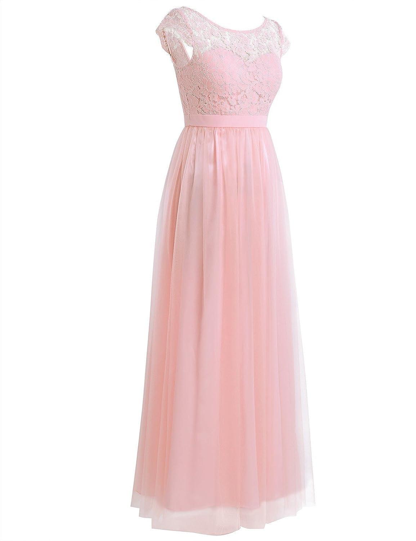 FEESHOW Women\'s Elegant Floral Lace Chiffon Bridesmaid Dress ...