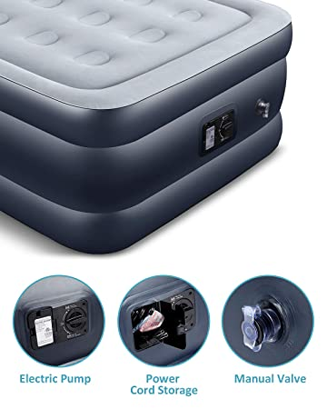 AYCLIF Upgraded Air Mattress Twin Size Blow Up Raised Airbed, Cup Hole Inflatable Mattress with Built-in Electric Pump Easy to Transport Store and Repair Patches Included, 80x39x18 inches