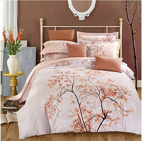 Full Queen size 3d Bedding Sets Sanding Autumn leaves large tree home Textile 4pcs Duvet Cover sets Christmas Gift (Comforter Not Included) (queen) - Big Leaf Trees