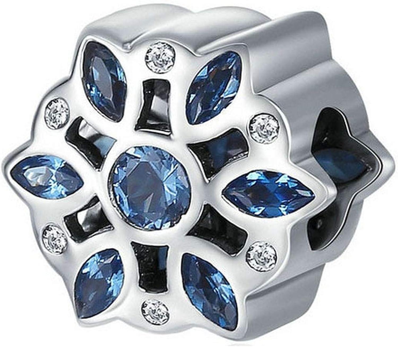 MMC Silver Fashion Blue CZ Crystalized Snowflake Beauty Charm Beads Bracelets