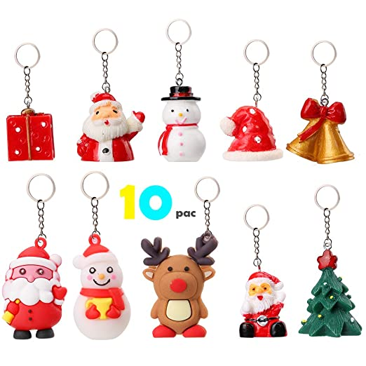 OOTSR Santa Claus Cartoon llaveros [10 piezas], lindo muñeco ...