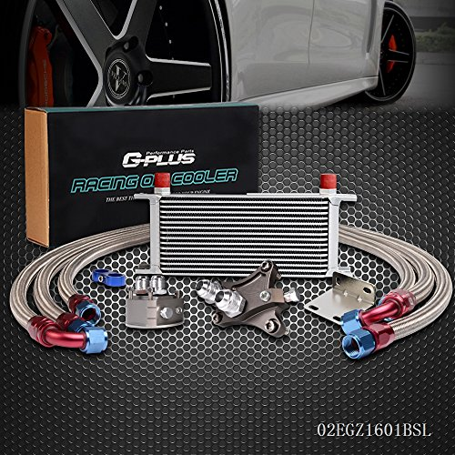 16 Row Aluminum Engine Transmission Oil Cooler Kit For NISSAN Silvia SR20DET TURBO S13 S14 180SX 200SX 240SX Silver