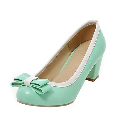 YE Damen Blockabsatz Pumps High Heels Geschlossen mit 6cm Absatz Elegant Schuhe