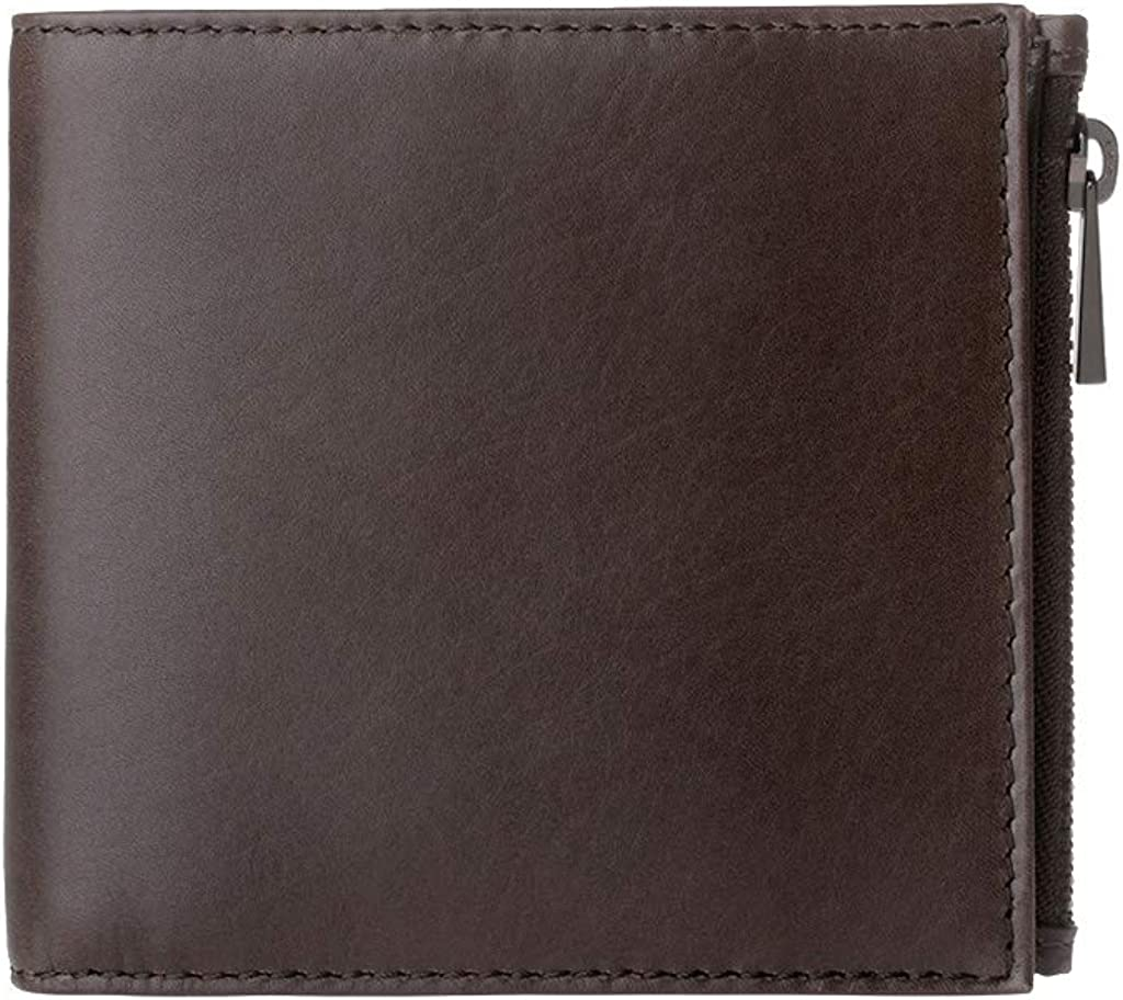 Brown DUDU Wallet for men in Genuine Leather with YKK Zip and Credit Card Holder Slim and simple Design Sam