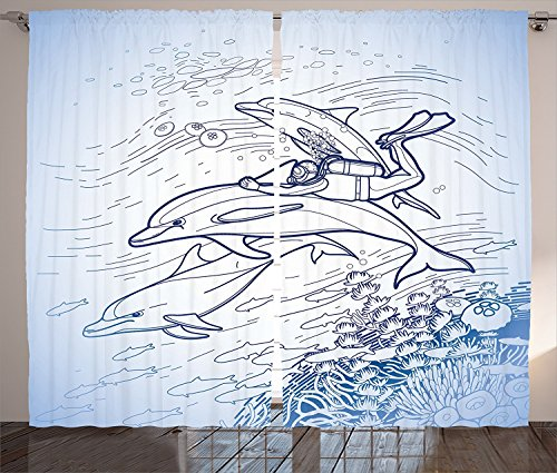 Sea Animals Decor Curtains Sketch of Scuba Diver Holding Fin of Dolphin over Coral Reefs Fish Underwater Living Room Bedroom Window Drapes 2 Panel Set Multi 120x66