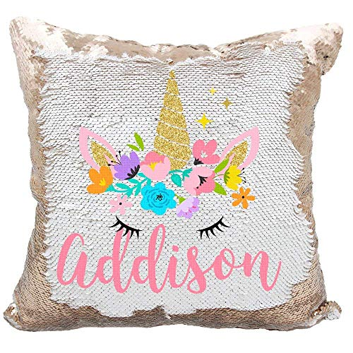 (Linkes Personalized Mermaid Reversible Sequin Pillow, Custom Unicorn Sequin Pillow for Girls(White/Rose Gold))