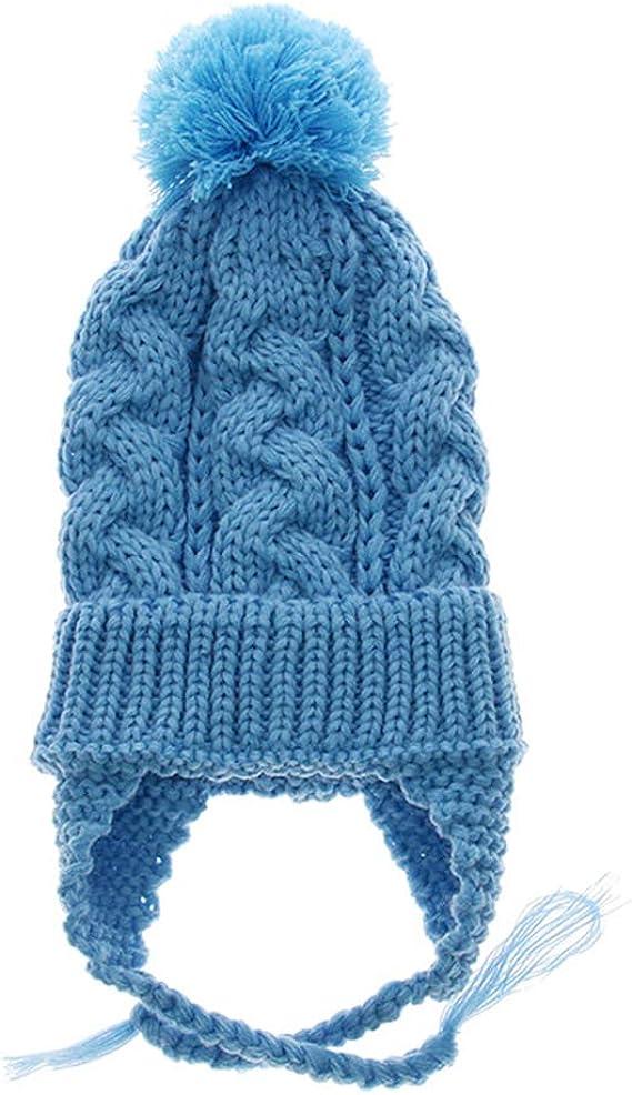 Enfant Bonnet Péruvien Avec Pompon Chapeau Tricot Avec Cache