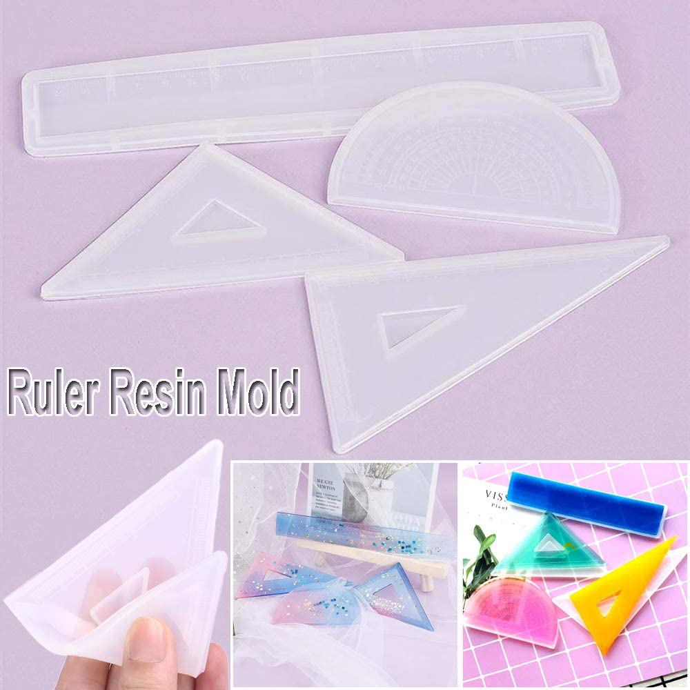 Protractor Ruler Resin Mold Handmade Stationery Silicone Mould Making Tool