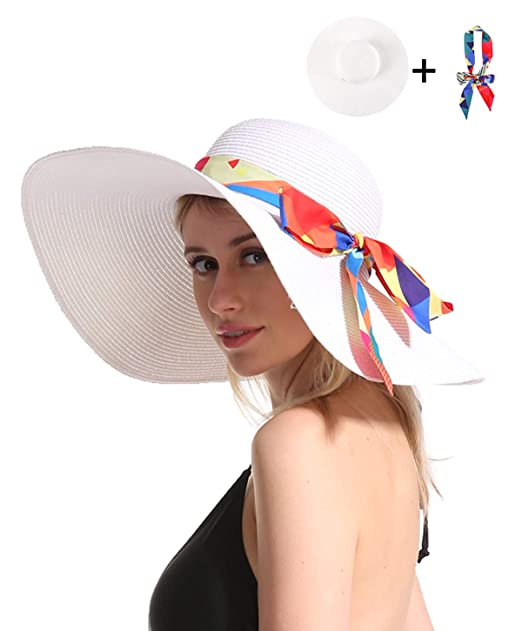 0e5a304c Women Straw Sun Beach Hat - White Large Wide Brim Floppy Resting Face  Sunhat Roll Up