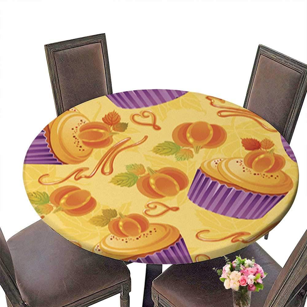 ナチュラルラウンドテーブルクロス 感謝祭おめでとうカード お祝いバナー 家庭用 複数の色とサイズ 洗濯機洗い可, 47.5