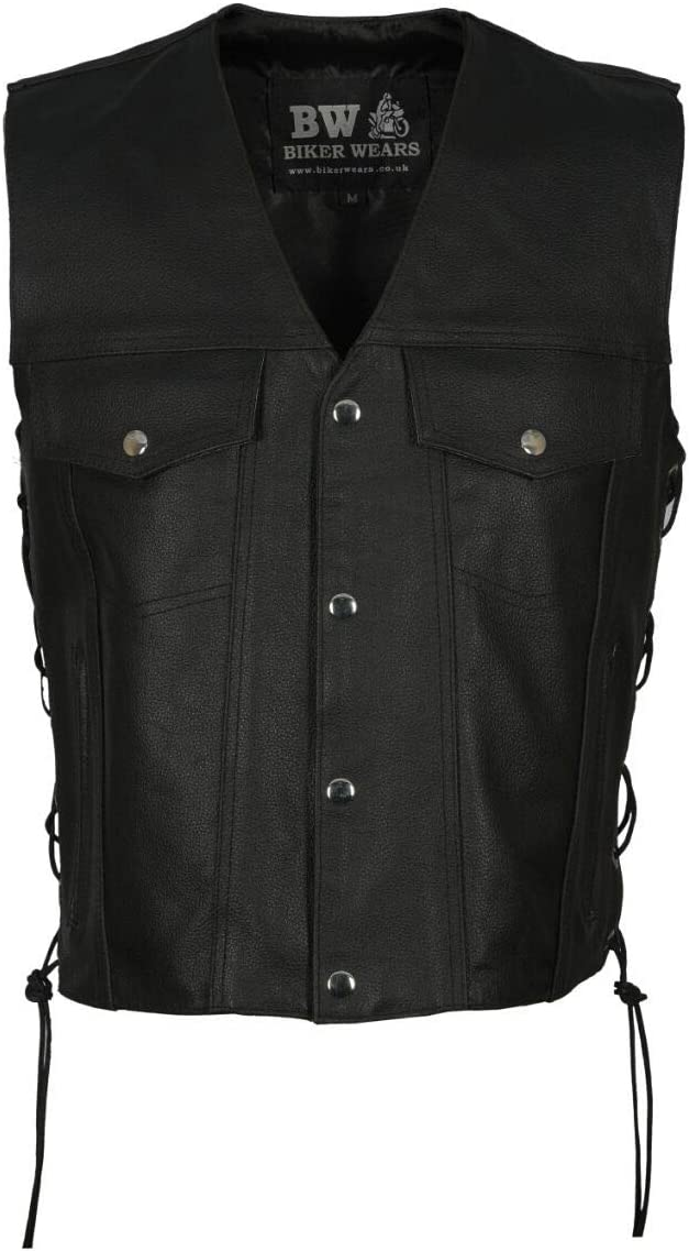 BLACK 4 POCKET, XL Mens Motorbike Motorcycle Real Leather Button Side Laced Fish Hook Pocket Waistcoat Vest Biker Fashion /…