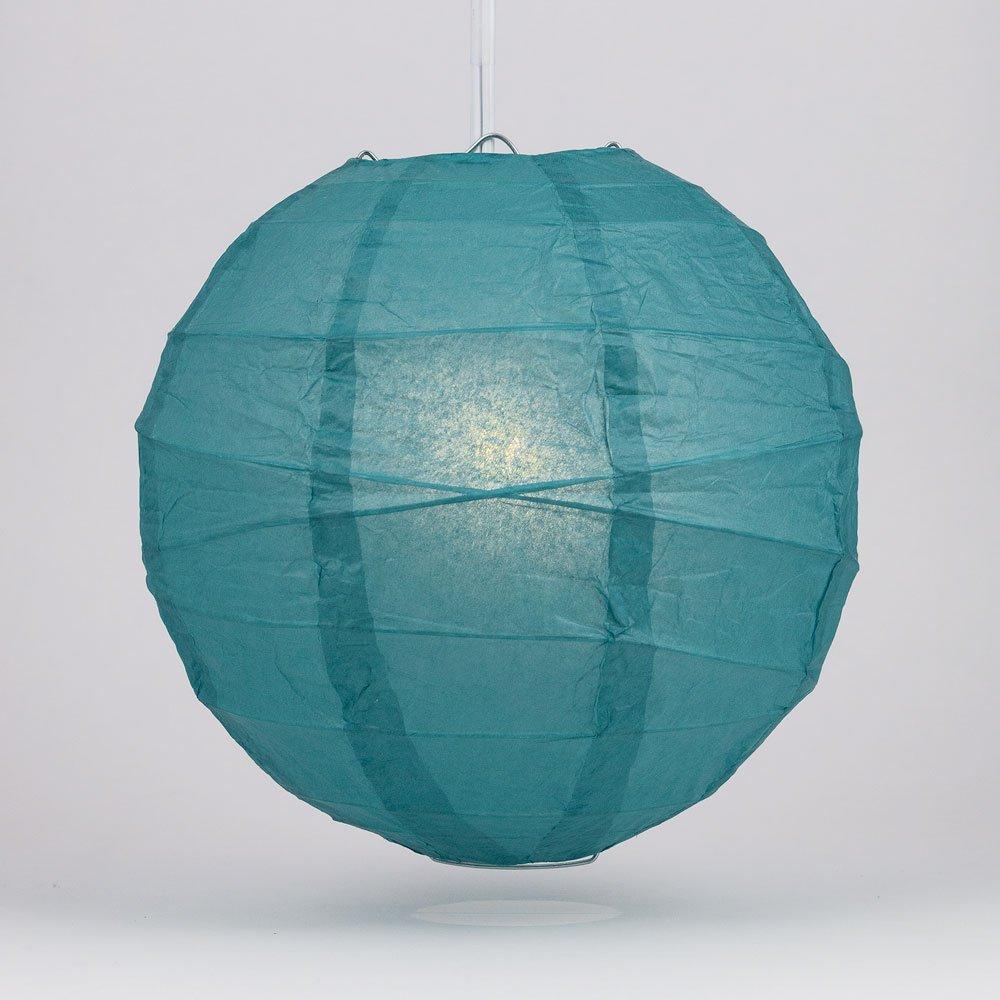 Quasimoon PaperLanternStore.com 10'' Teal Green Round Paper Lantern, Crisscross Ribbing, Hanging Decoration