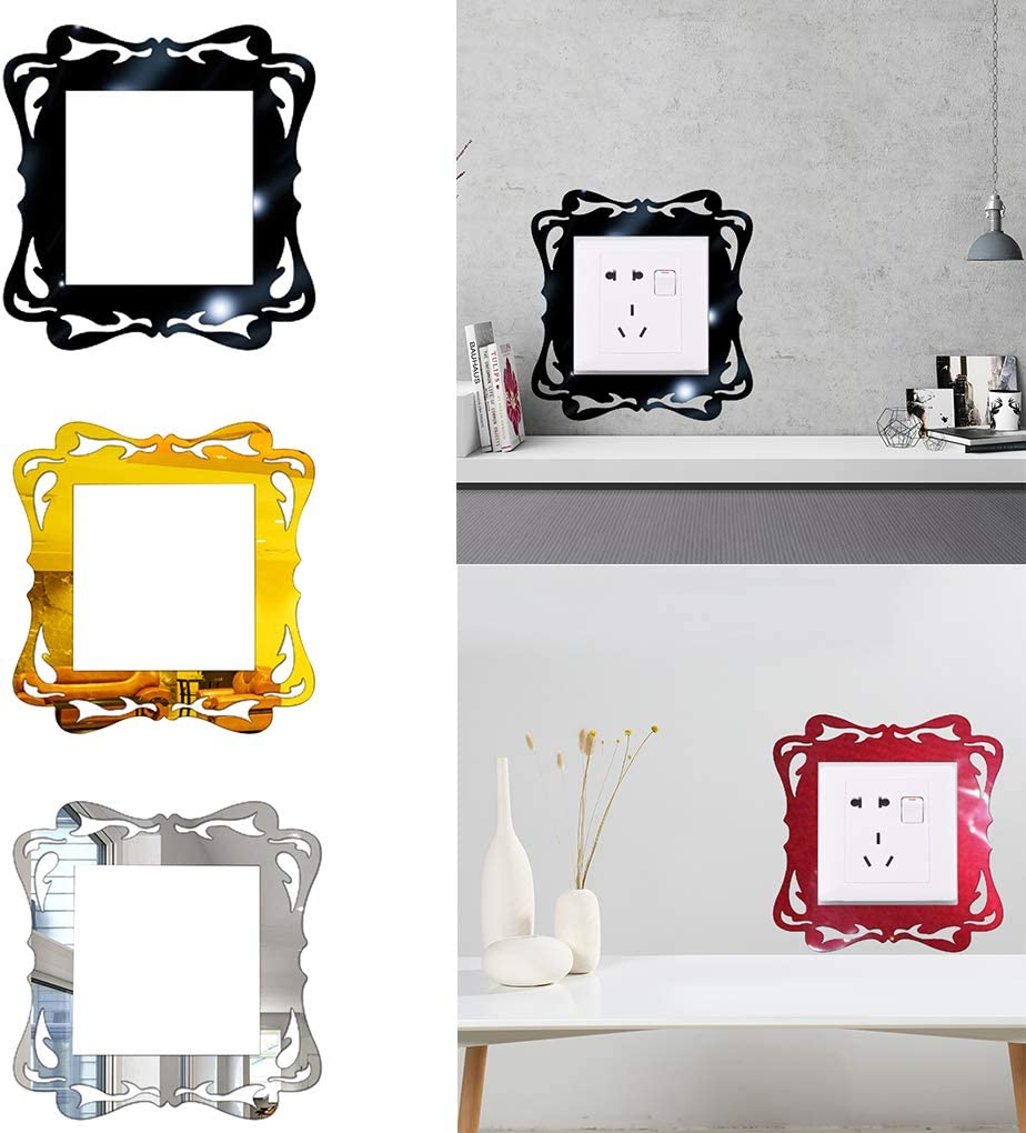 Timlatte Home Switch Acrylic Cover Square Switch Wall Light Socket Panel Stickers Living Room Decoration Golden
