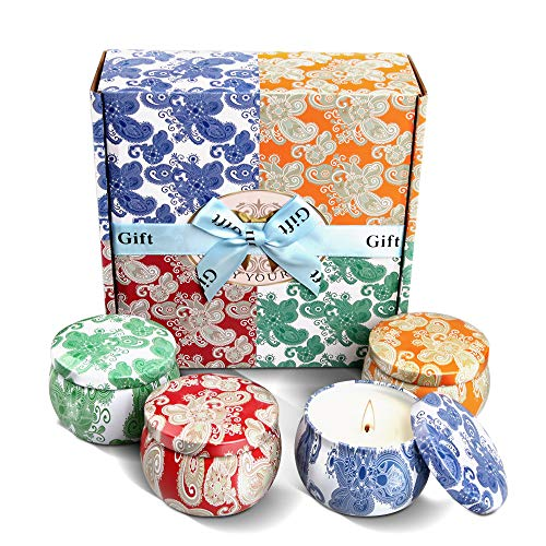 Violet Gift - Scented Candles Boxed Gift Set - Violet, Lavender, Cider, and Spring, 4 Pack - Natural Soy Wax Fragrance Candle Set, Travel Tin Candles for Aromatherapy, Stress Relief (4.4oz each)