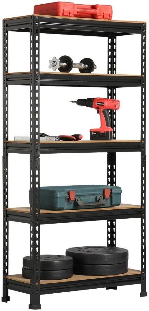 Yaheetech 4 x Etag/ères de Rangement 150 x 70 x 30 cm /Étag/ère Metallique Atelier//Garage//Cuisine Charge Lourde 150 kg par Niveau sans Boulons Noir