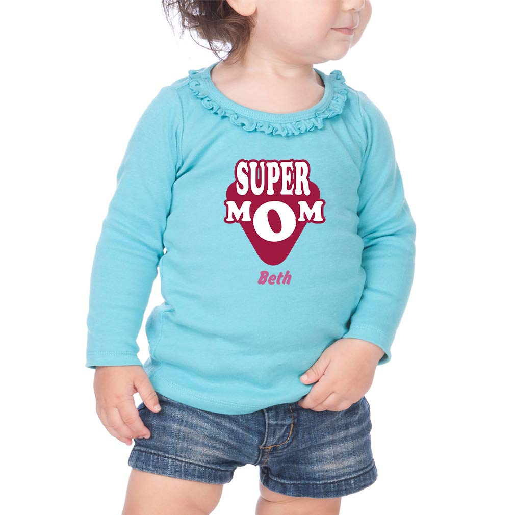 Personalized Custom Super Mom Cotton Toddler Long Sleeve Ruffle Shirt Top