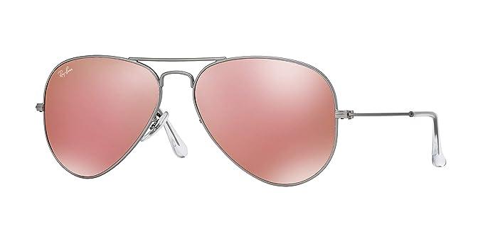 14f041c6d38 Amazon.com  Ray-Ban RB3025 Aviator Mirror Lens Unisex Sunglasses (Matte  Silver Frame   Brown Mirror Pink Lens 019 Z2
