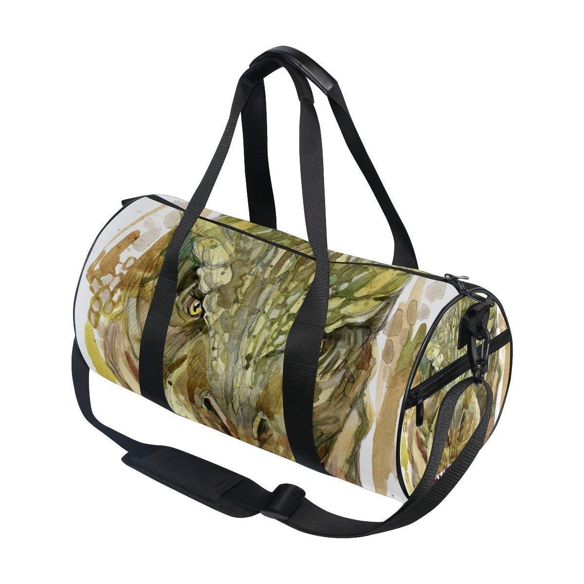 OuLian Gym Duffel Bag Octopus Handguns Sports Lightweight Canvas Travel Luggage Bag