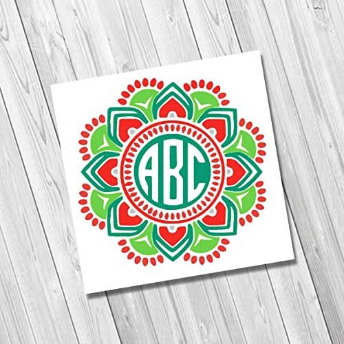amazoncom pink lime green and teal mandala monogram With kitchen colors with white cabinets with monogram stickers for yeti