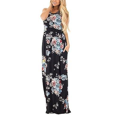10f0e845503 Wancy Womens Sleeveless Floral Print Racerback Casual Summer Tunic Long  Maxi Dress Black 2X-Large