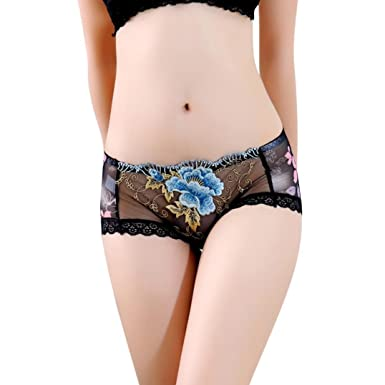 d1913df6a Ladies Lingerie one Piece Shorts Lace Panties Thongs G-String Underwear New  Look Knickers for Women Sexy (Black