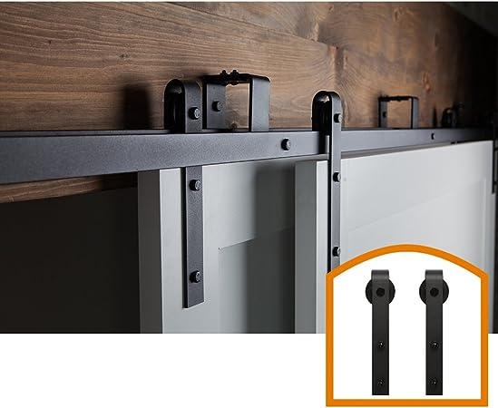 ZEKOO 4 FT Bypass Sliding Barn Door Hardware Black Steel Low Ceiling Hanger Double Track