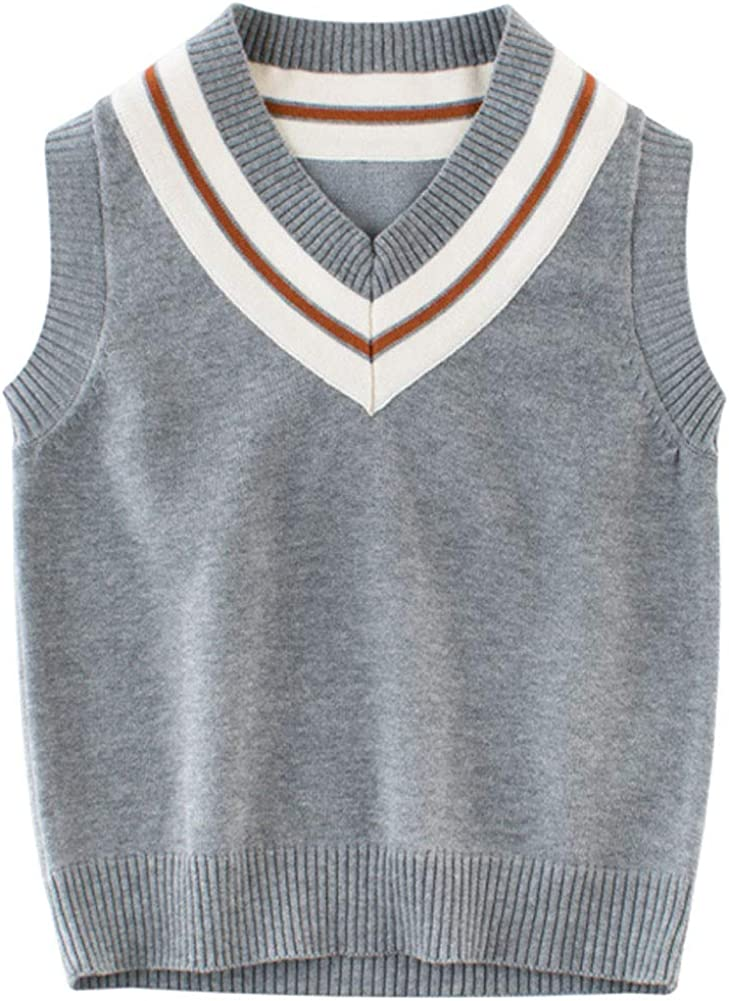 Biofieay Knitted Vest Boys Tank Top Sleeveless Jumpers Kids V Neck Sweater Pullover for 1-7T