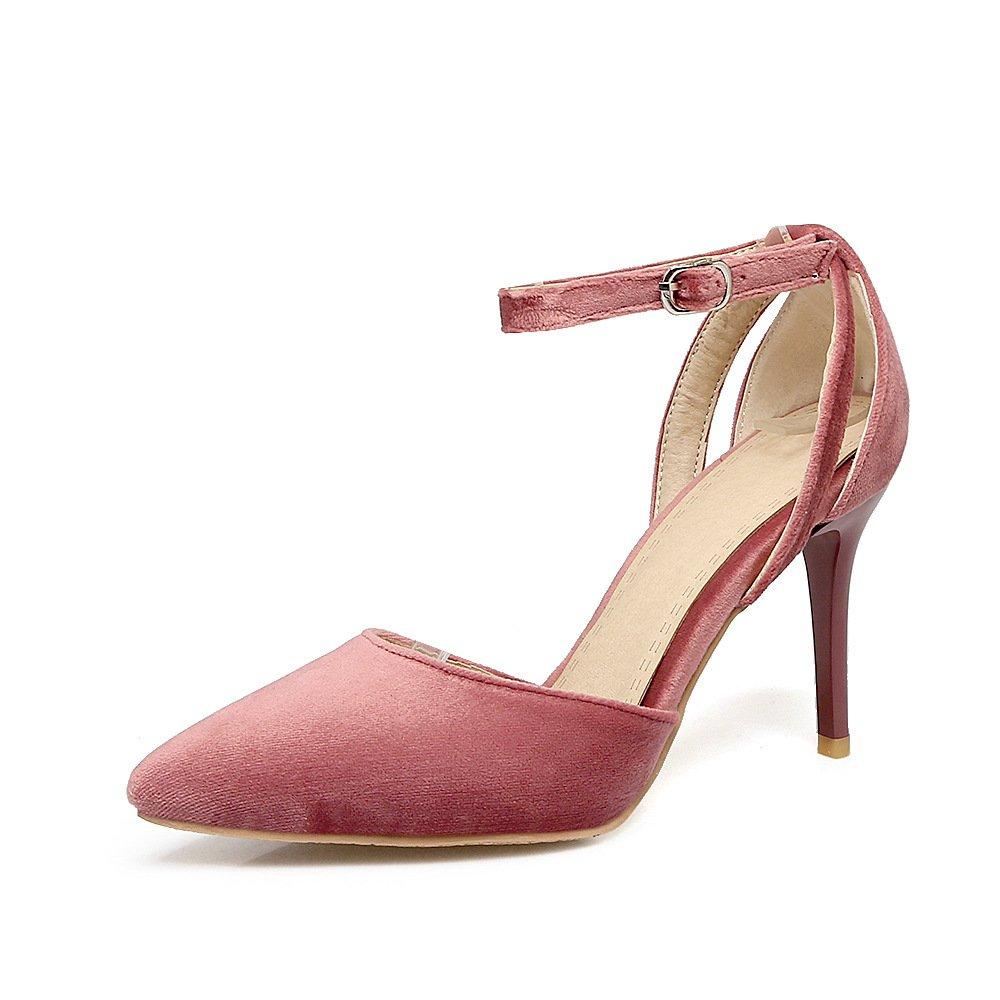QIN&X Damen Stiletto High Heels Spitzen Zehe Velvet Pumps Schuhe  44 EU|Pink