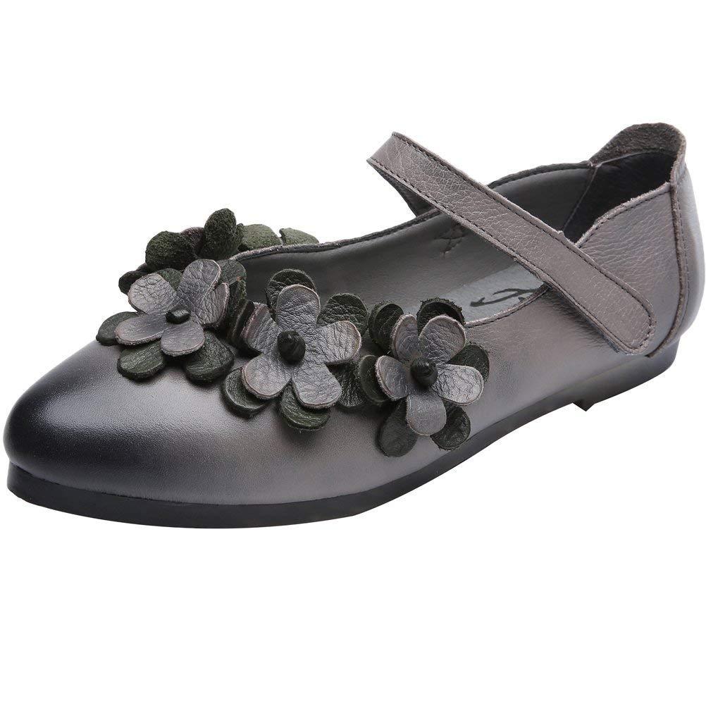 Fuxitoggo Frauen Frühling Flache Schuhe Knöchelriemen Leder Slip Slip Slip on (Farbe   Grau Größe   5.5 6 UK) 6fdade