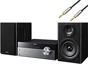 Sony Bluetooth Hi-Fi Home Audio Stereo Sound System with Single Disc Cd Player Plus 6ft Kubicle Aux Cable Bundle