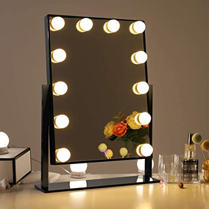 Mirror with lighting Retail Chende Glossy Black Lighted Vanity Mirror With Dimmable Led Bulbs Hollywood Style Makeup Mirror With Amazoncom Amazoncom Chende Glossy Black Lighted Vanity Mirror With Dimmable