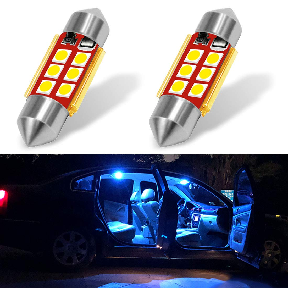 Boaton 194 LED Light Bulb 168 161 T10 W5W 2825 Replacement Bulbs for Car Interior Dome Map Door Trunk Courtesy License Plate Lights 6000K Xenon White Pack of 10