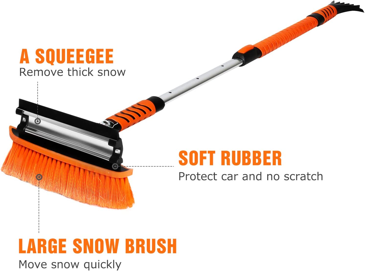 MATCC Car Snow Brush Removal 51 Extendable Snow Brush with Squeegee and Ice Scraper Detachable Snow Mover for Car Auto SUV Truck Windshield Windows MSB009