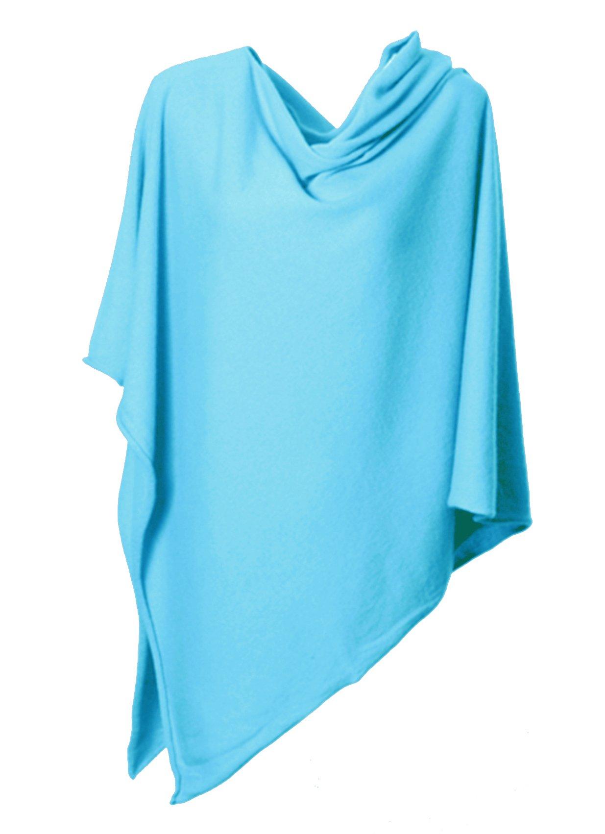 Anna Kristine Pure Cashmere Asymmetrical Draped Poncho - Caribbean Turquoise Blue