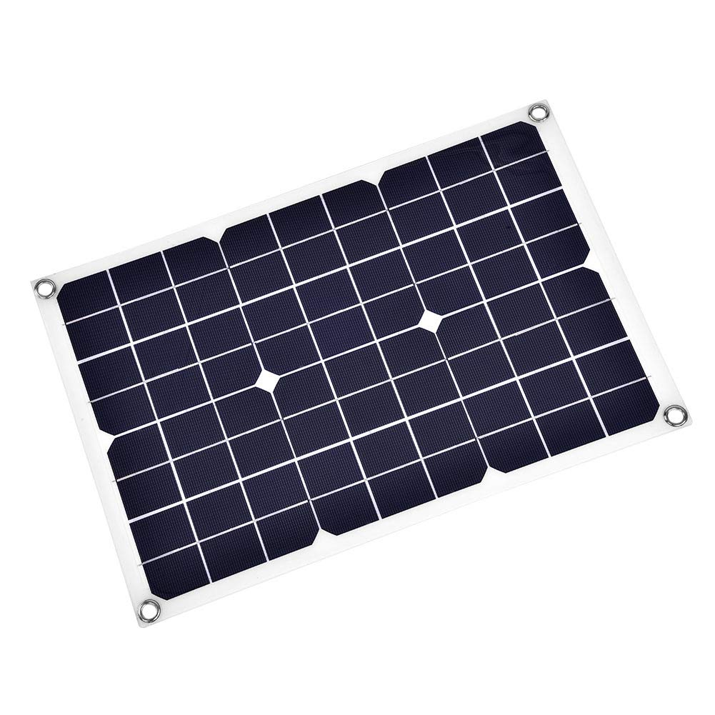 Richer-R Solar Charger, Portable 20W Solar Panel Charger Flexible Backup Mobile Battery Charger 18V 1.1A USB Output Car Boat Automobile