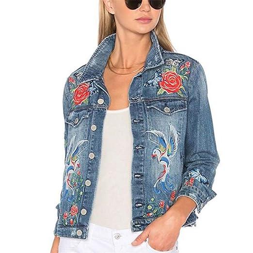 Jackswer Women S Flower Embroidery Long Sleeved Denim Jacket At