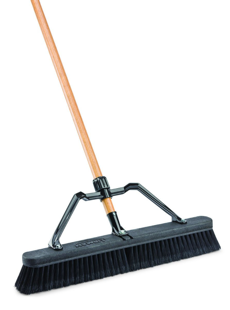 Libman Commercial 847 Smooth Surface Industrial Push Broom with Brace, 24'' (Pack of 4)