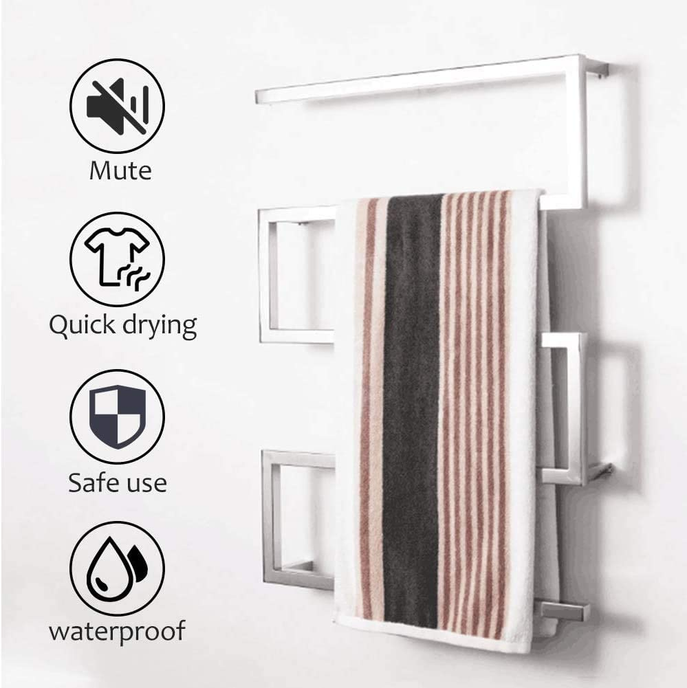 CGGDP Stainless Steel Towel Warmer Electric Heated Towel Rack 3 Timer Modes 5-Bar Wall Mounted Towel Rack 65W for Home Bathroom,White,Hardwired