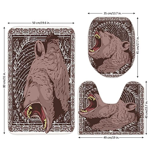 3 Piece Bathroom Mat Set,Animal Print,Illustration of the Growling Grizzly Bear Head with Sharp Teeth Print,Brown and White,Bath Mat,Bathroom Carpet -