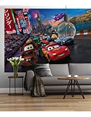 Sunny Decor SD401 fotobehang Cars Race, kleurrijk, 254 x 184 cm, 4 vellen, paierfotobehang, papiermateriaal, wanddecoratie, kinderkamer, Disney