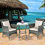 Tangkula 3PCS Patio Furniture Outdoor Wicker Table and Chairs Set Conversation Set