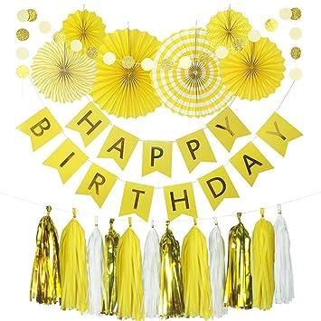 Yellow Birthday Party Decoration , 6 Hanging Fans \u0026 Birthday Banner \u0026  Decorative Circle Dot Garland \u0026 12