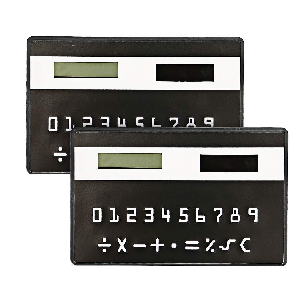 Pocket Calculator, Bondpaw 2 Pack Ultra Slim Solar Power Portable Calculator, Credit Card Size Pocket Calculator for Office, School