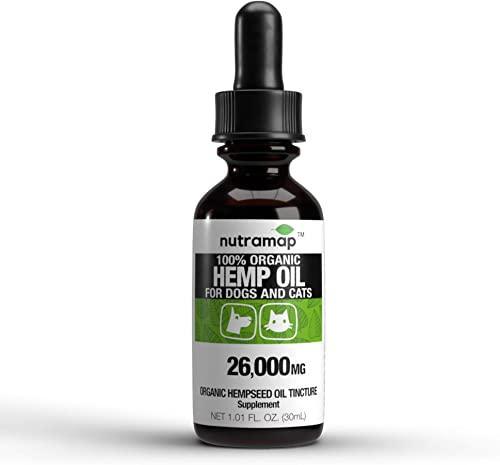 Nutramap 100 Organic Hemp Oil 26000mg for Dogs and Cats – Made in USA – Aids Stress, Anxiety, Joints, Hips, Barking, Separation and More – 100 Organic Hempseed Oil Natural Source of Omega 3-6-9