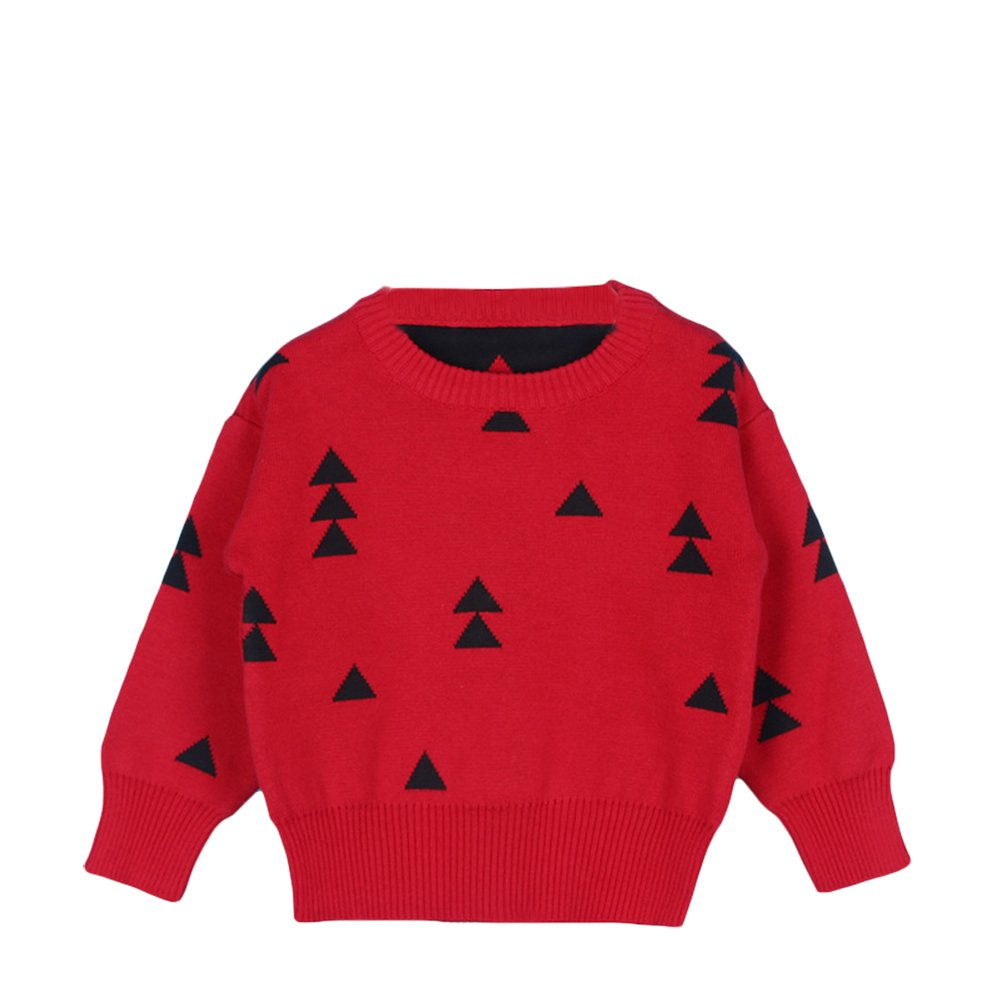 Unisex Kids Baby Winter Cotton Knit Christmas Trees Round Neck Pullover Sweater Sweatshirt Outwear 1-5T