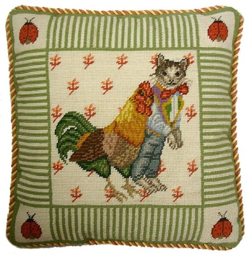 nd Chicken - 16 x 16 in. needlepoint pillow ()