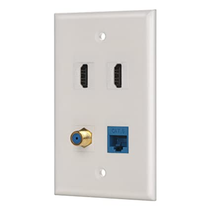 IBL-4 Port Wall Plate with Coaxial TV Cable F Type + Cat6 Ethernet +