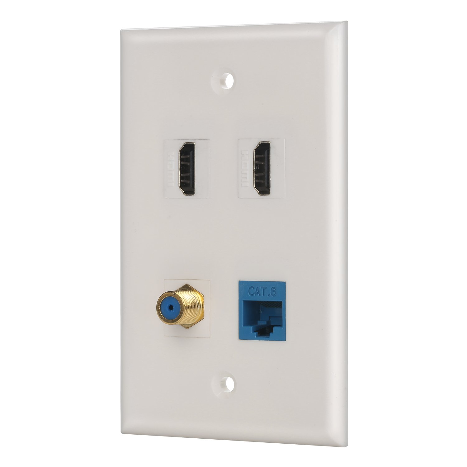 IBL-4 port Wall Plate with Coaxial TV Cable F type + Cat6 Ethernet +2 HDMI Keystone Female to Female Jack in White