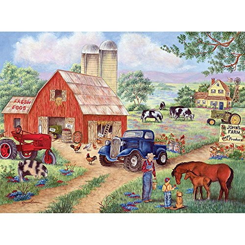 Bits and Pieces 300 Large Piece Jigsaw Puzzle for Adults - John's Farm, Horses on the Farm - by Artist Kay Lamb Shannon - 300 pc Jigsaw