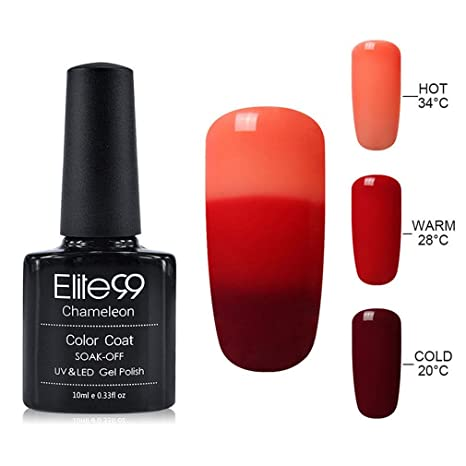 Elite 99 Esmalte de Uña de Gel Polish Camaleón Cambio de 3 Colores con Temperatura Semipermanente. Pasa ...